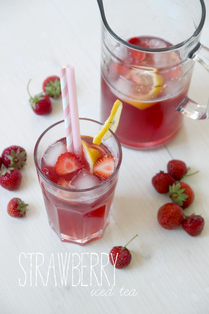 Rezept: Erdbeeren Special - Erdbeer Eistee selbstgemacht