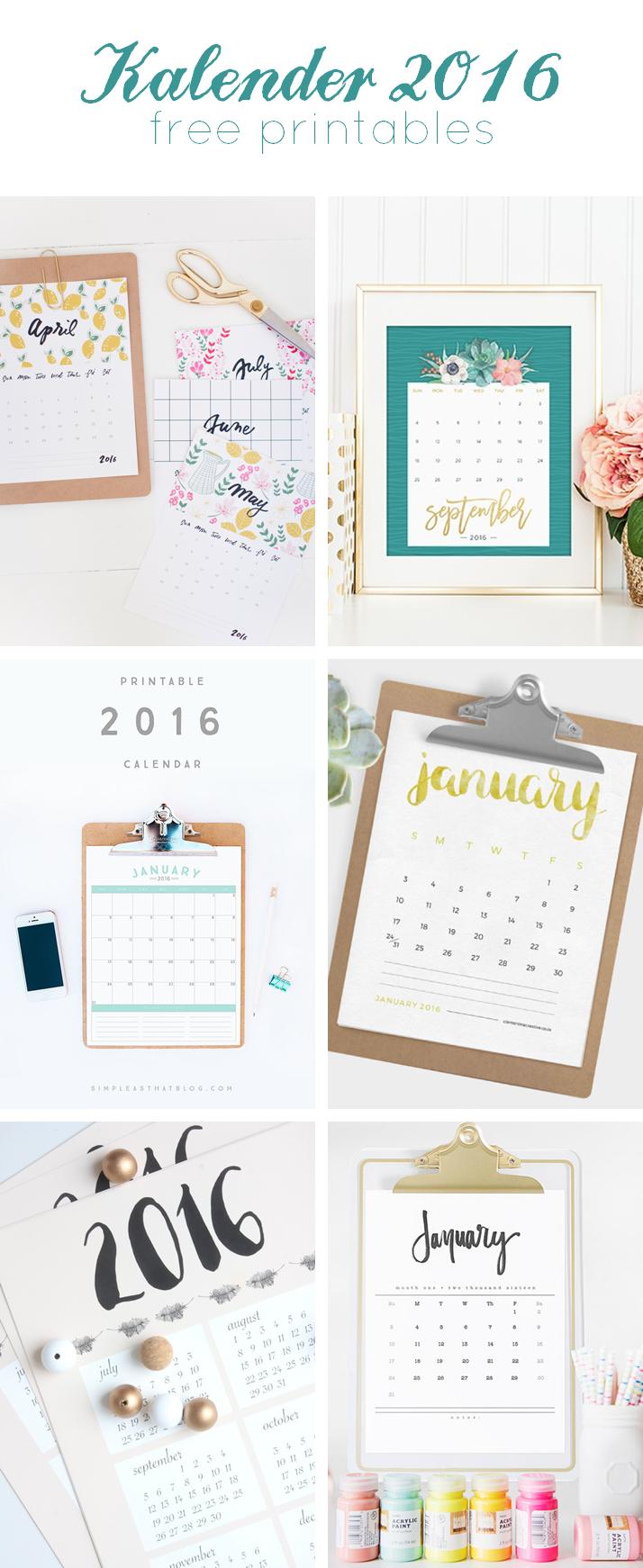 Kalender 2016 - 6 Free Printables