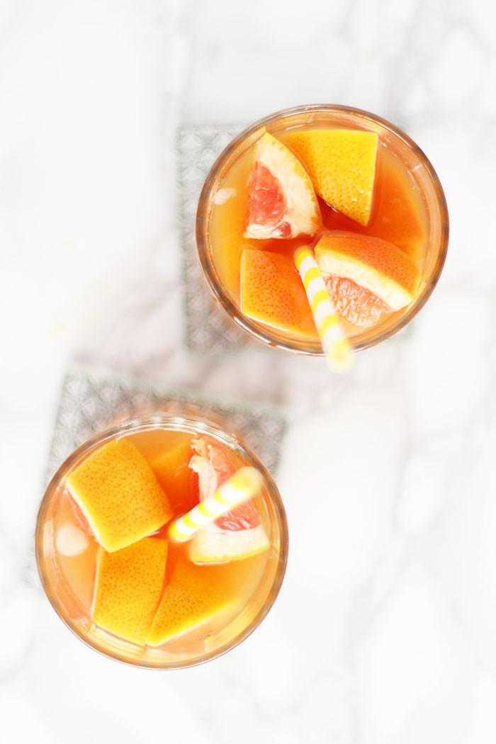 Eistee Cocktail mit Grapefruit und Ingwer