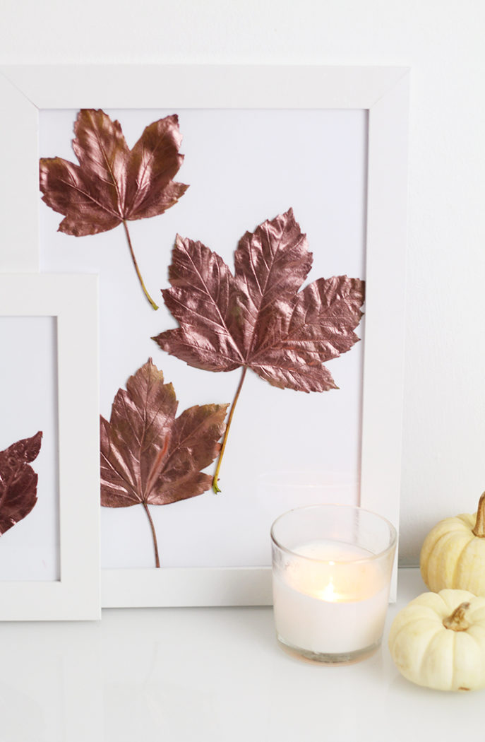Do It Yourself: Kupfer Herbstblätter im Bilderrahmen