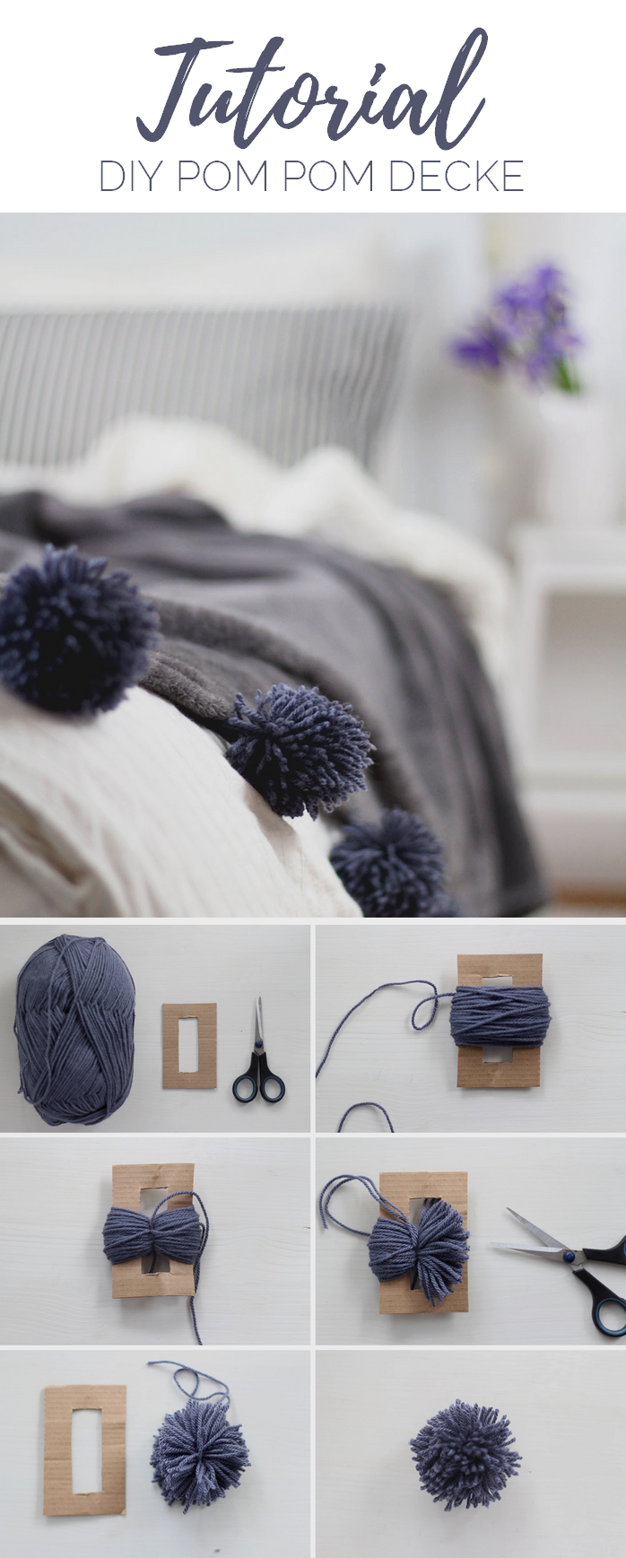 diy decke mit pompons selber machen provinzkindchen. Black Bedroom Furniture Sets. Home Design Ideas