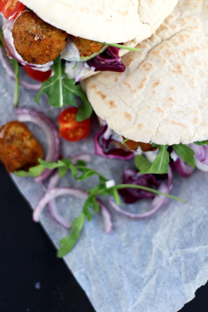 Veggie Pita mit Falafel - für den schnellen Hunger