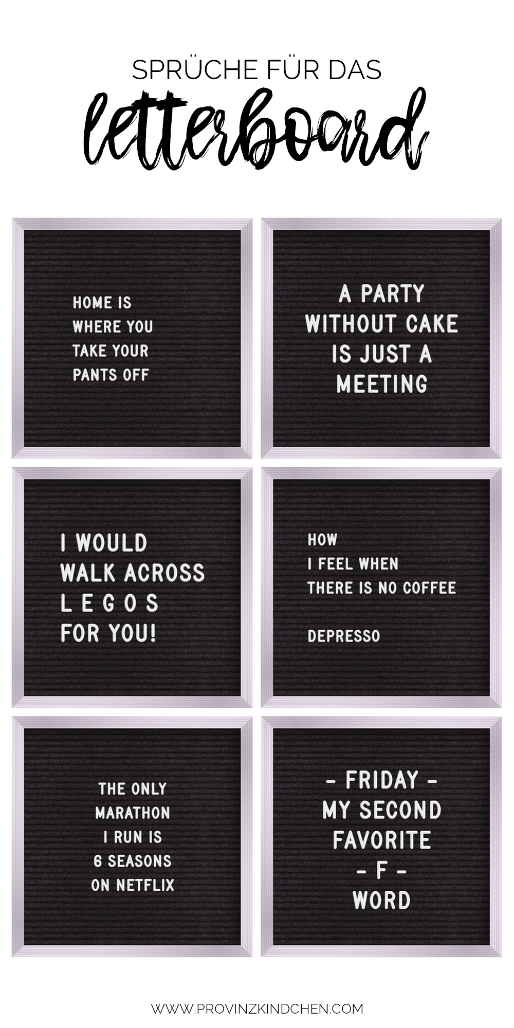 Mehr als 100 Sprüche für das Letterboard