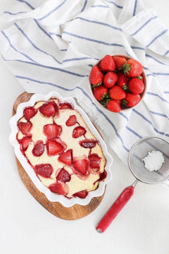 Topfen-Grieß-Auflauf mit Erdbeeren